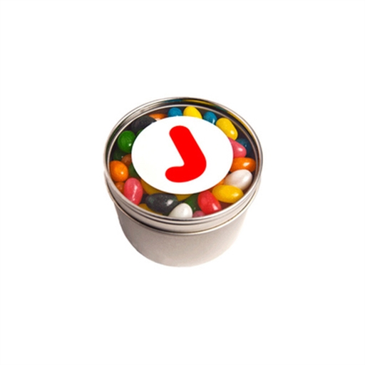 Small Round Window Tin - Jelly Beans 150G (Mixed Colours Or Corporate Colours)