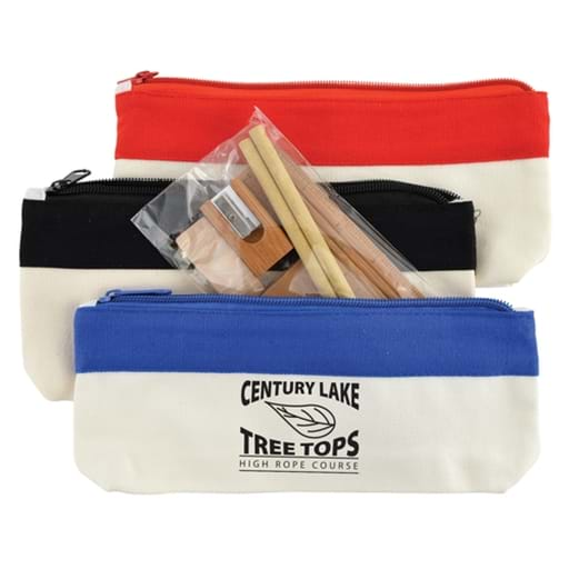 Bamboo Stationery Set In Cotton Canvas Organiser / Pencil Case