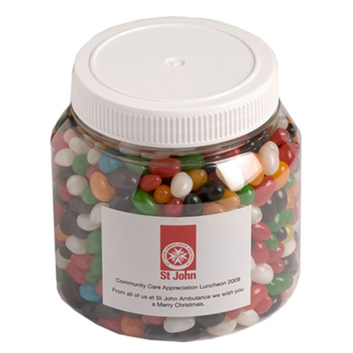 Plastic Jar - Jelly Beans 1KG (Mixed Colours Or Corporate Colours)